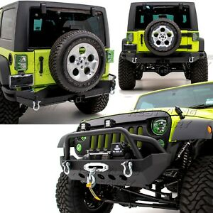 Front Bumper Full Width Rear Bumper X Plate For 07 18 Jeep Jk Wrangler