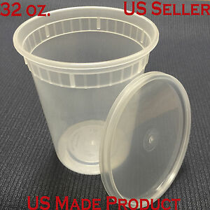 Deli Food Containers Round Soup Cup Plastic 32 Oz with Lids 240 Sets