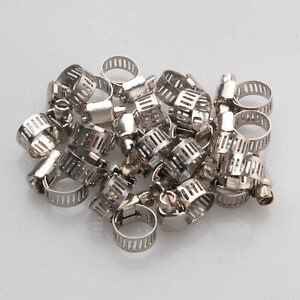 20pcs 1 2 3 4 Adjustable Stainless Steel Drive Hose Clamps Fuel Line Worm Clip