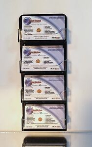 4 Pocket Horizontal Wall Mount Business Card Holder With Clear Plastic Pockets