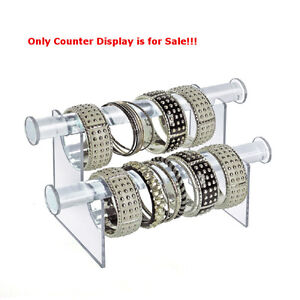 New Clear Acrylic Two tier Bracelet Counter Display 6 h X 11 75 w