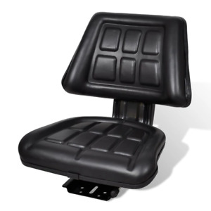 Black Tractor Seat Backrest Base Slide Track Steel pvc Compact Mower Seating