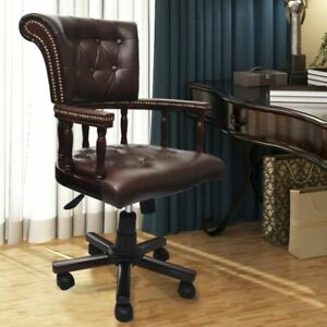 Vidaxl Chesterfield Captains Swivel Office Chair Brown Real Leather Home Study