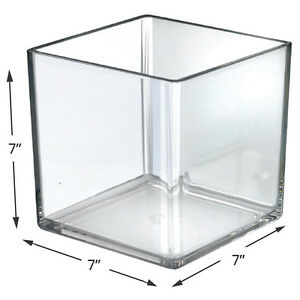 Box Of 4 New Clear Styrene Deluxe Square Display Cube Bin 7 w X 7 d X 7 h