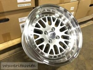 Silver Lm20 Style 15x8 0 Wheels Rims Big Lip Deep Dish Aggressive Fitment 4x100