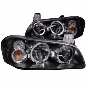 For 2002 2003 Nissan Maxima Crystal Halo Headlights Black Pair Lh rh