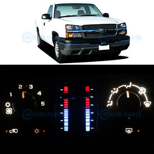 White Climate Heater Ac Control Bulb Led Lights For Silverado 1500 No Lcd 03 06