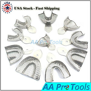 Aa Pro Dental Impression Tray Full Denture Perforated Set Of 10 Sml Upper Lower