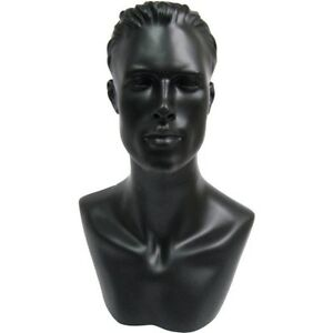 Mn 513 Black Male Mannequin Abstract Head Form Display With Bust And Ears