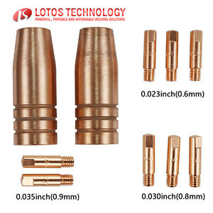 Lotos Mig Welding Torch Gun Nozzle Tips Consumables 10pc Mcs10 For Mig175 Mig140