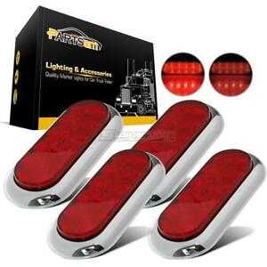 4pcs Submersible 6 10 Led Oval Red Stop Turn Tail Lights chrome Rings Universal