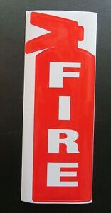 fire Die Cut Sign Adhesive vinyl Fire Extinguisher Shape Sign 3 1 4 X 8 3 4