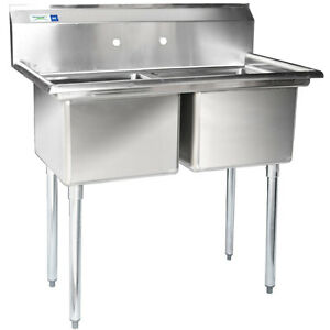 New 41 2 Compartment Nsf Stainless Steel Commercial Sink Without Drainboards