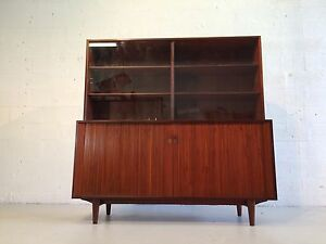 Great Arne Hovmand Olsen Tambour Door Cabinet With Hutch For Selig Teak Denmark