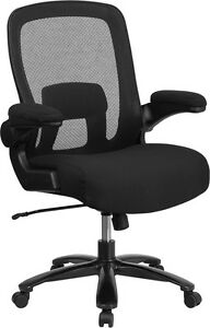 Big Tall Black Mesh Executive Swivel Chair Fabric Padded Seat Flip up Arm