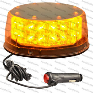 32 Led Amber Beacon Magnetic Light Emergency Warning Strobe Yellow Roof Round
