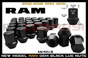 2012 2016 Ram 1500 M14x1 5 Black Factory Style Lug Nuts 22mm Hex 1 5 Tall