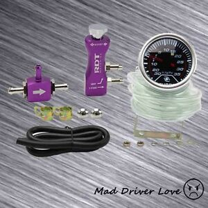 2 Digital Led 35psi Boost Gauge Manual Adjustable Turbo Boost Controller Purple