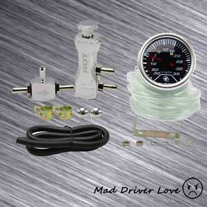 2 Digital Led 35psi Boost Gauge Manual Adjustable Turbo Boost Controller Silver