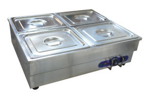 4 pan Counter Top Warmer Bain marie Buffet Steam Table Food Warmer 110v 1500w