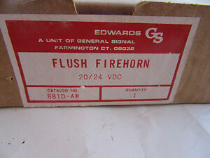 Edwards 881d aw Red Flush Fire Alarm Horn 20 24vdc New In Box Free Shipping