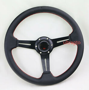 Black 6 Bolt 350mm Racing Leather Racing Steering Wheel Red Stitch Horn