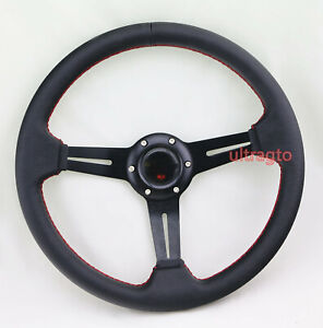Black 6 Bolt 350mm Racing Leather Racing Steering Wheel Red Stitch