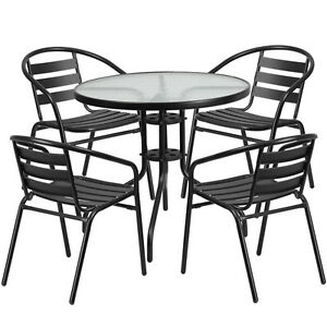 31 5 Round Indoor outdoor Restaurant Table Set With 4 Black Aluminum Chairs