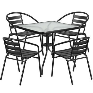 31 5 Sqaure Indoor outdoor Restaurant Table Set With 4 Black Aluminum Chairs
