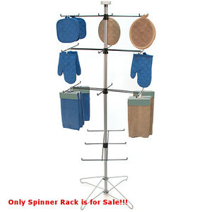 New Powder Coated Chrome Wire Spinner Rack 4 Tier With 6 Hooks 26 X 26 X 65 h
