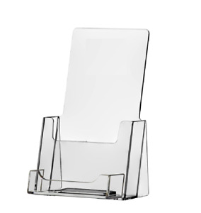 100 Clear Acrylic Tri Fold Brochure Holder With Business Card Holder