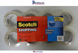 24 Rolls Scotch 3m Heavy Duty Clear Packaging Shipping Tape 54 6yd ea Roll