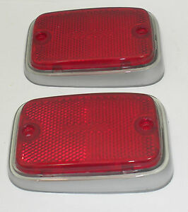 Side Maker Lens Rear Red With Silver Trim Fits Volkswagen Type2 Bus 1970 1976