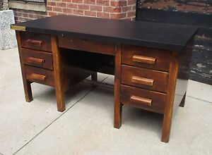 Vintage Industrial Metal Steel Desk W Faux Wood Painted Finish