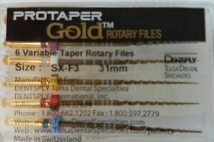 Protaper Gold Rotary Files 31 Mm Sx f3 Dentsply Tulsa Assorted Endodontics Endo