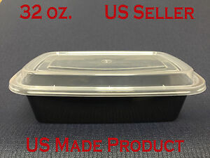 150 Sets Deli Food Rectangular Containers Plastic 32 Oz with Lids