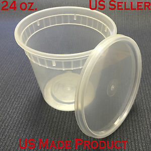 240 Sets Deli Food Round Containers Soup Cup Plastic 24 Oz with Lids