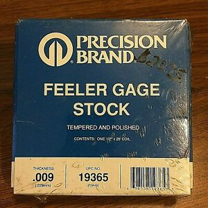 Precision Brand 0 009 Steel Feeler Gage 1 2 X 25 Coil 19365