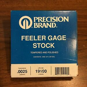 Precision Brand 0 0025 Steel Feeler Gage 1 2 X 25 Coil 19190