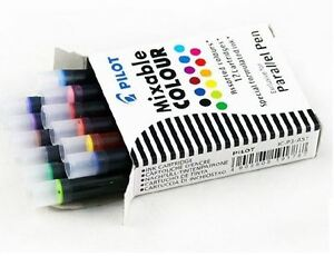 Pilot Parallel Fountain Calligraphy Pen Ink Cartridges Assorted Ink 12 Pack