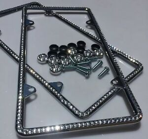 2 All Diamond Silver Bling Glitter Crystal Rhinestone License Plate Frame Thin