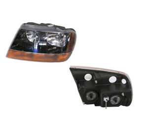 Jeep Grand Cherokee Wj Wg 1999 2005 Headlight Black Insert Halogen Type Left
