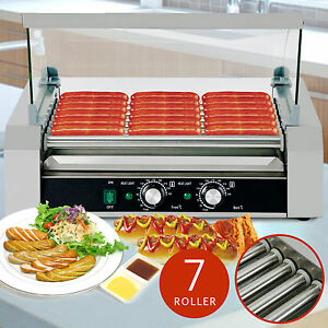 Roller Commercial 18 Hotdog Hot Dog 7 Roller Grill Cooker Machine W cover New
