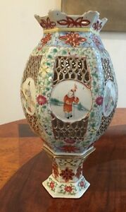 Antique Chinese Porcelain Famille Candle Stand Late Qing Republic
