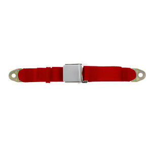 Replacement 2 Point Lap Seat Belt Chrome Lift Latch 90 Inch Flame Red