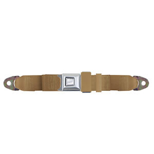 Replacement 2 Point Lap Seat Belt Metal Button Release 90 Inch Tan