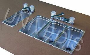 Concession Sink Stand Three 3 Compartment attached W Hand Sink New