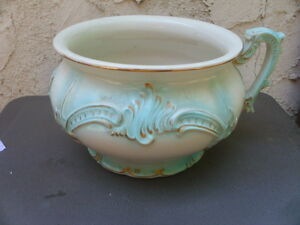 Antique Ceramic Chamber Pot White Light Turquoise Blue Gold W Handle Repaired