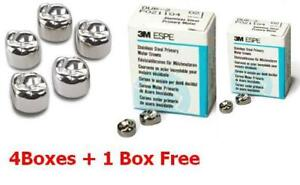 4 Boxes 1 Free Box Stainless Steel Primary Molar Crowns 3m 5pcs Each Box