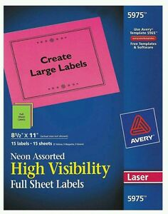 Avery Multi color Neon Laser Labels 5975 Full Sheet 8 1 2 X 11 15 Per Pack Sale